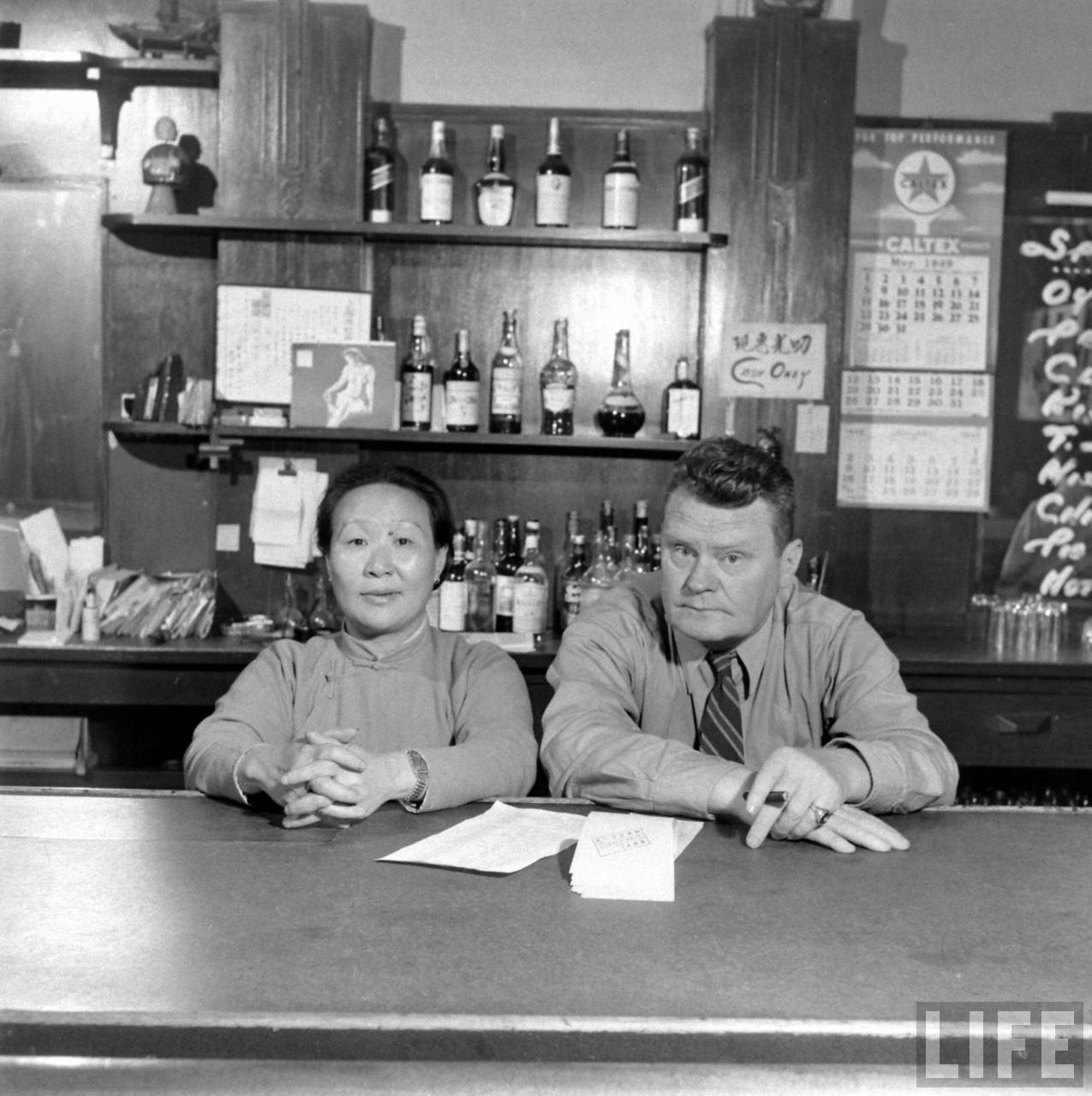 Daisy Gao Kia Kin and Frank Yenalevicz, New Ritz Bar, Shanghai, May 1949 by Jack Birns © Time Inc.